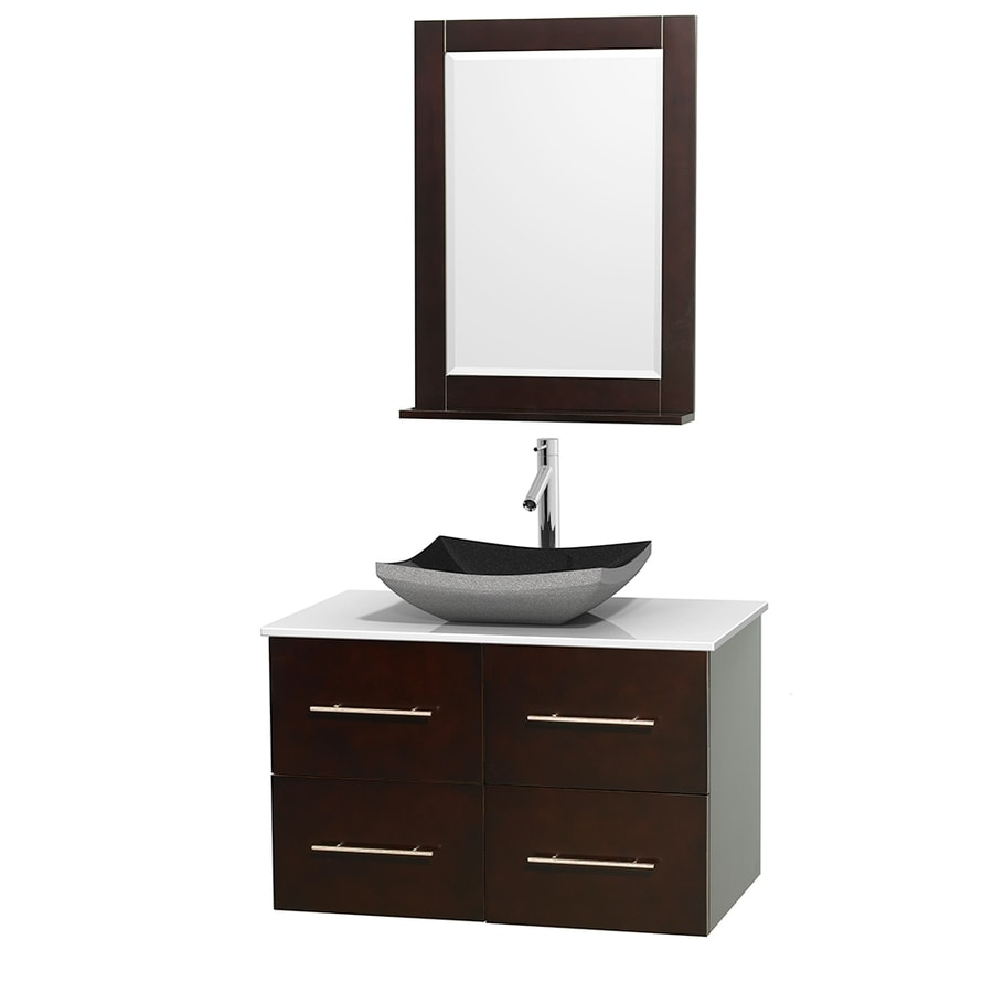 Wyndham Collection Centra Espresso 36-in Vessel Single Sink Oak Bathroom Vanity with Engineered Stone Top (Mirror Included)