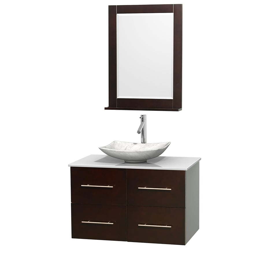 Wyndham Collection Centra Espresso (Common: 36-in x 21.5-in) Vessel Single Sink Oak Bathroom Vanity with Engineered Stone Top (Mirror Included) (Actual: 36-in x 21.5-in)