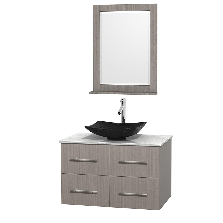 Wyndham Collection Centra Gray Oak (Common: 36-in x 21.5-in) Vessel Single Sink Oak Bathroom Vanity with Natural Marble Top (Mirror Included) (Actual: 36-in x 21.5-in)
