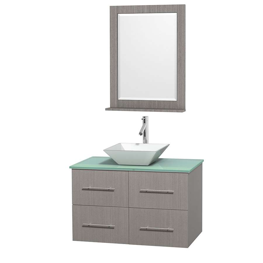 Wyndham Collection Centra Gray Oak 36-in Vessel Single Sink Oak Bathroom Vanity with Tempered Glass and Glass Top (Mirror Included)