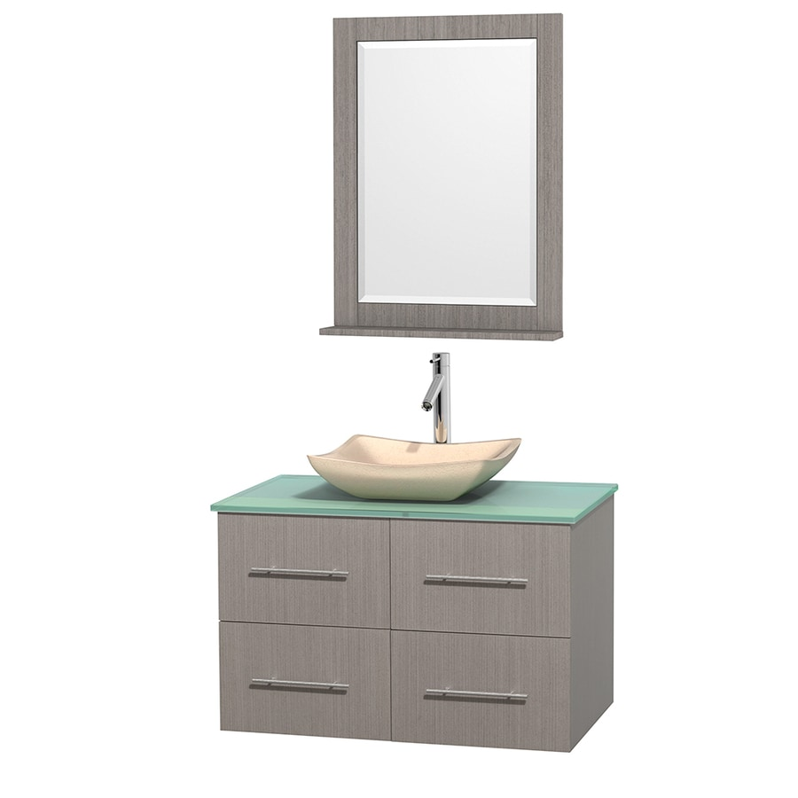 Wyndham Collection Centra Gray Oak (Common: 36-in x 21.5-in) Vessel Single Sink Oak Bathroom Vanity with Tempered Glass and Glass Top (Mirror Included) (Actual: 36-in x 21.5-in)