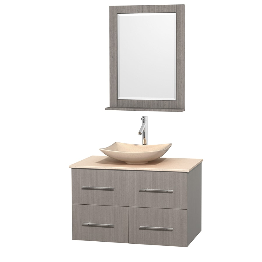 Wyndham Collection Centra Gray Oak 36-in Vessel Single Sink Oak Bathroom Vanity with Natural Marble Top (Mirror Included)