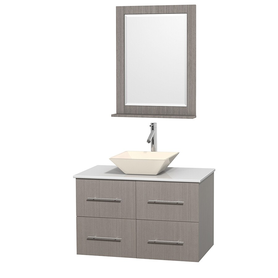 Wyndham Collection Centra Gray Oak 36-in Vessel Single Sink Oak Bathroom Vanity with Engineered Stone Top (Mirror Included)