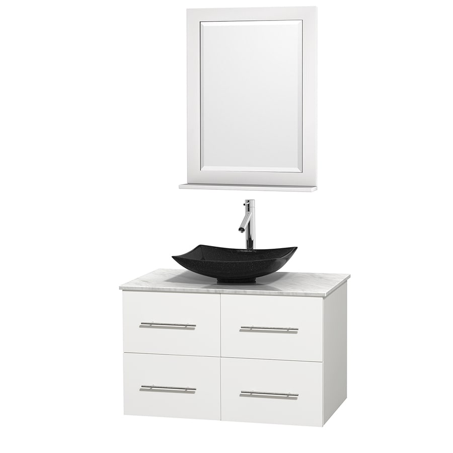 Wyndham Collection Centra White (Common: 36-in x 21.5-in) Vessel Single Sink Oak Bathroom Vanity with Natural Marble Top (Mirror Included) (Actual: 36-in x 21.5-in)