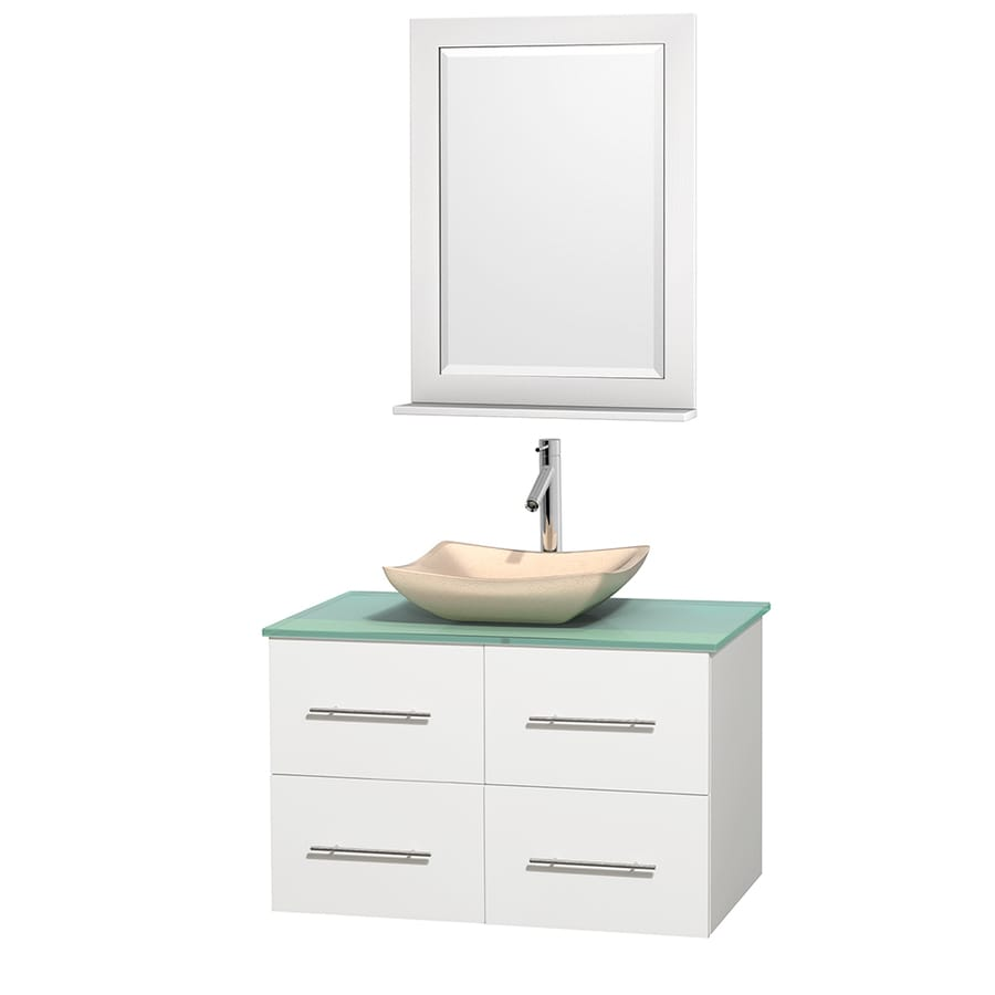 Wyndham Collection Centra White (Common: 36-in x 21.5-in) Vessel Single Sink Oak Bathroom Vanity with Tempered Glass and Glass Top (Mirror Included) (Actual: 36-in x 21.5-in)