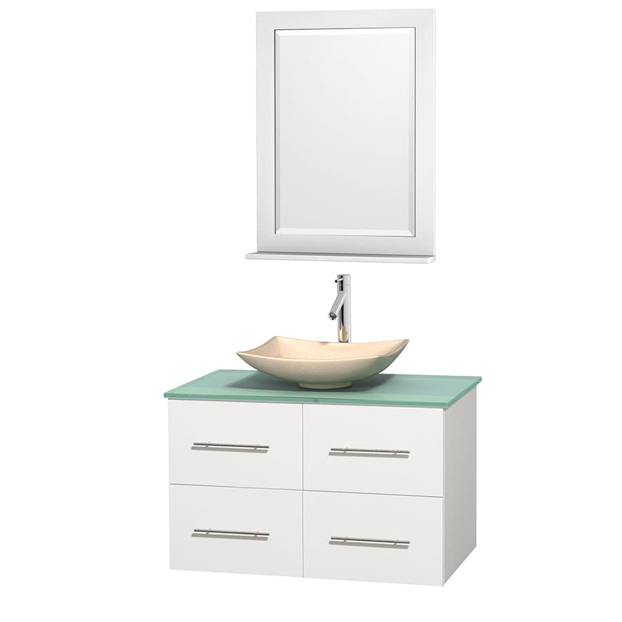 Wyndham Collection Centra White 36-in Vessel Single Sink Oak Bathroom Vanity with Tempered Glass and Glass Top (Mirror Included)