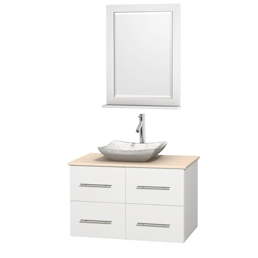 Wyndham Collection Centra White 36-in Vessel Single Sink Oak Bathroom Vanity with Natural Marble Top (Mirror Included)