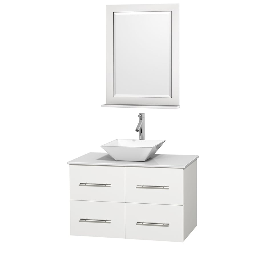 Wyndham Collection Centra White (Common: 36-in x 21.5-in) Vessel Single Sink Oak Bathroom Vanity with Engineered Stone Top (Mirror Included) (Actual: 36-in x 21.5-in)