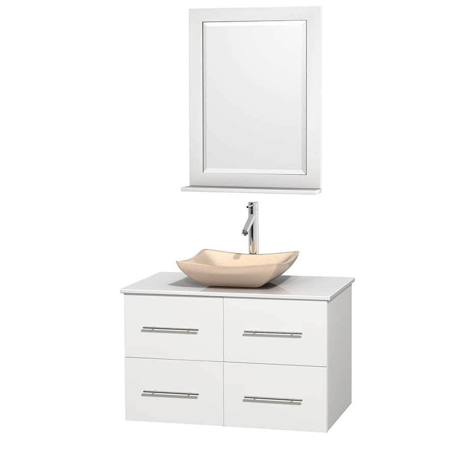 Wyndham Collection Centra White Single Vessel Sink Bathroom Vanity with Engineered Stone Top (Common: 36-in x 21.5-in; Actual: 36-in x 21.5-in)