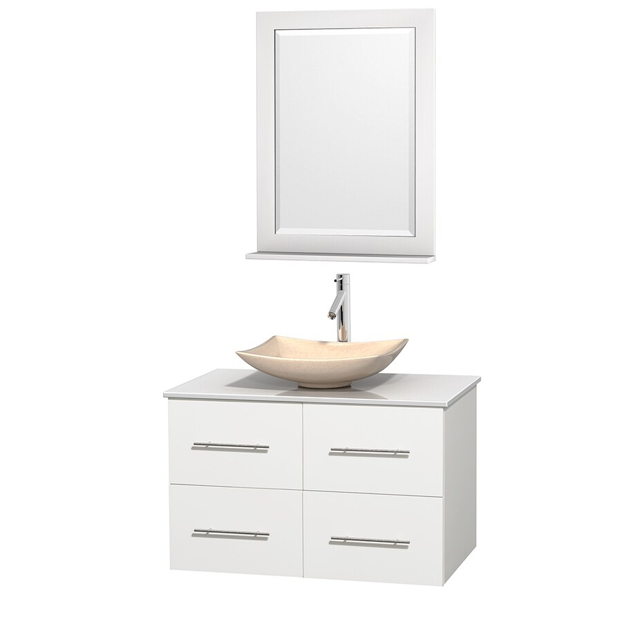 Wyndham Collection Centra White 36-in Vessel Single Sink Oak Bathroom Vanity with Engineered Stone Top (Mirror Included)