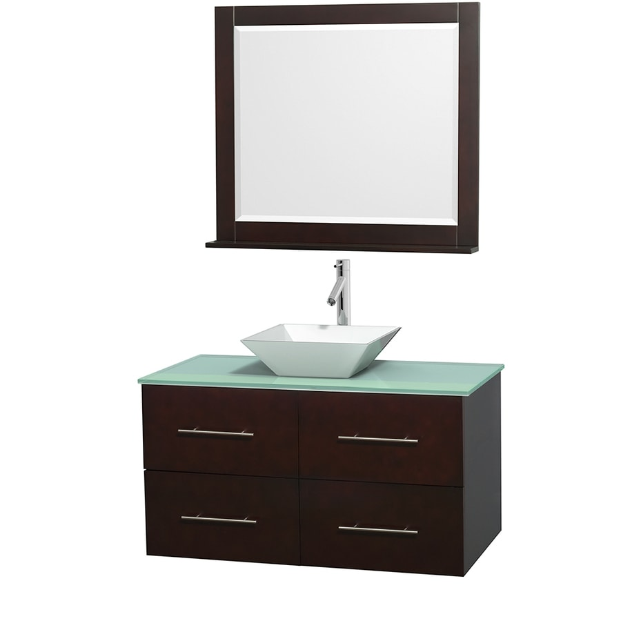 Wyndham Collection Centra Espresso Single Vessel Sink Bathroom Vanity with Tempered Glass and Glass Top (Common: 42-in x 21.5-in; Actual: 42-in x 21.5-in)