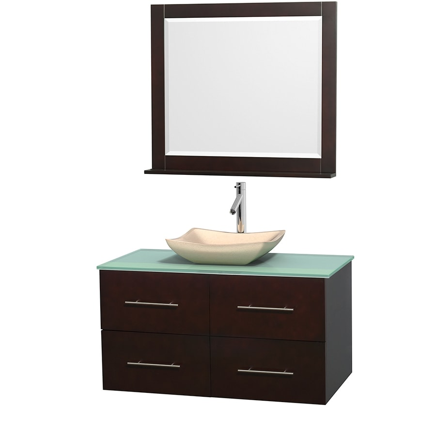 Wyndham Collection Centra Espresso (Common: 42-in x 21.5-in) Vessel Single Sink Oak Bathroom Vanity with Tempered Glass and Glass Top (Mirror Included) (Actual: 42-in x 21.5-in)