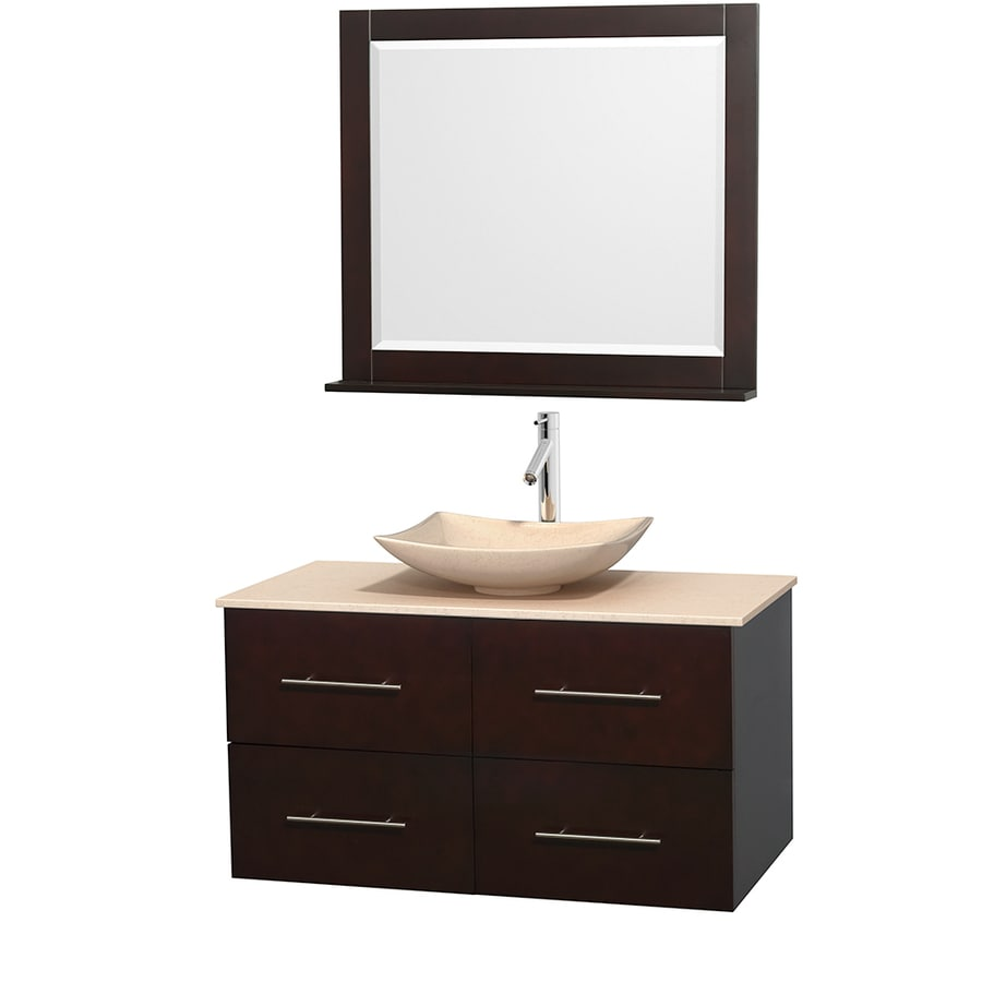 Wyndham Collection Centra Espresso 42-in Vessel Single Sink Oak Bathroom Vanity with Natural Marble Top (Mirror Included)