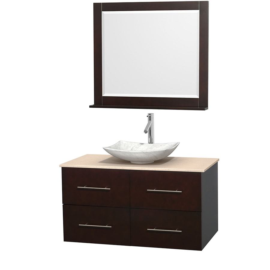 Wyndham Collection Centra Espresso (Common: 42-in x 21.5-in) Vessel Single Sink Oak Bathroom Vanity with Natural Marble Top (Mirror Included) (Actual: 42-in x 21.5-in)