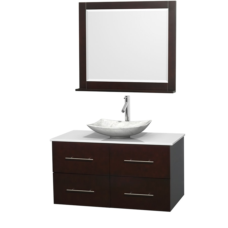 Wyndham Collection Centra Espresso (Common: 42-in x 21.5-in) Vessel Single Sink Oak Bathroom Vanity with Engineered Stone Top (Mirror Included) (Actual: 42-in x 21.5-in)