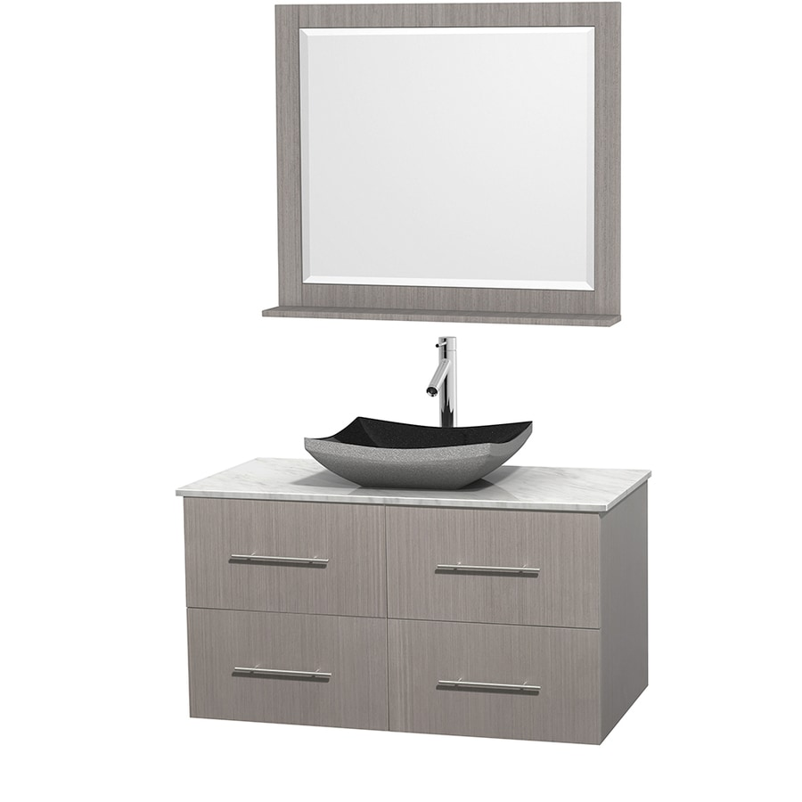 Wyndham Collection Centra Gray Oak 42-in Vessel Single Sink Oak Bathroom Vanity with Natural Marble Top (Mirror Included)