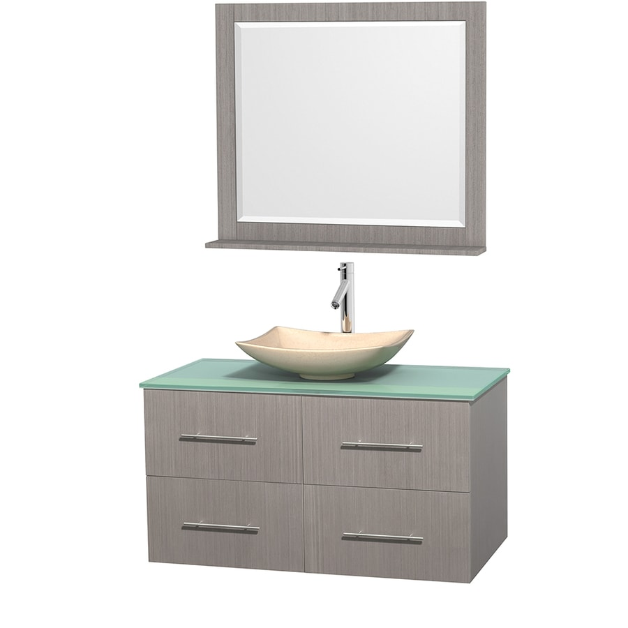 Wyndham Collection Centra Gray Oak 42-in Vessel Single Sink Oak Bathroom Vanity with Tempered Glass and Glass Top (Mirror Included)