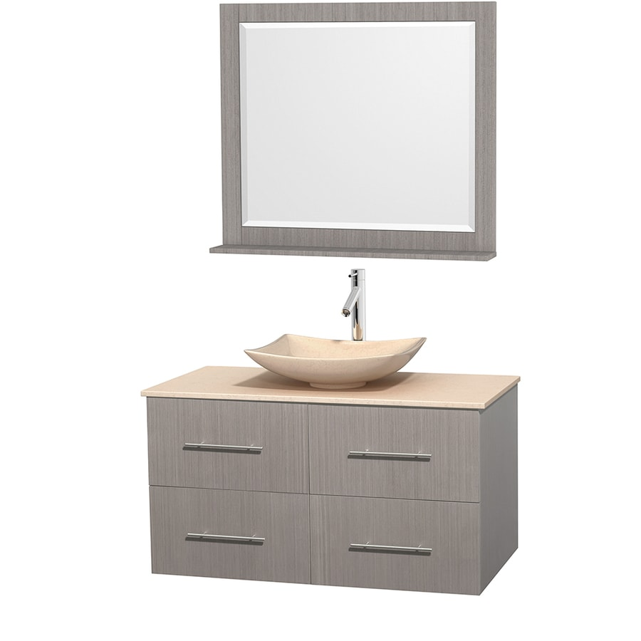 Wyndham Collection Centra Gray Oak (Common: 42-in x 21.5-in) Vessel Single Sink Oak Bathroom Vanity with Natural Marble Top (Mirror Included) (Actual: 42-in x 21.5-in)