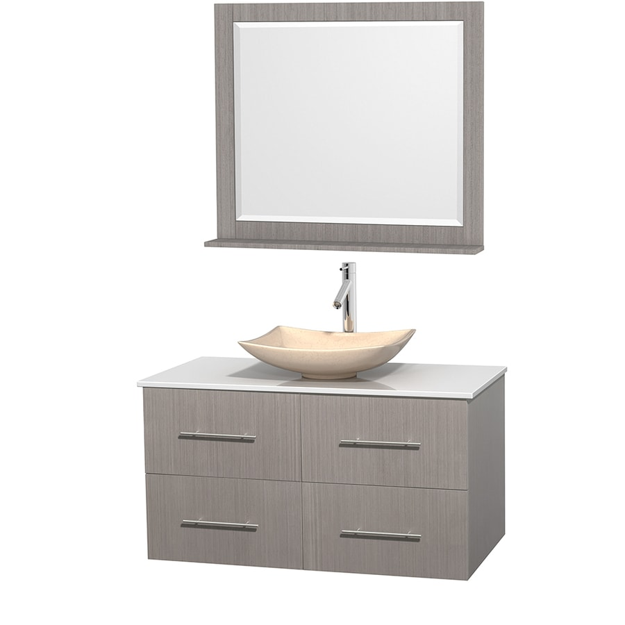 Wyndham Collection Centra Gray Oak Single Vessel Sink Bathroom Vanity with Engineered Stone Top (Common: 42-in x 21.5-in; Actual: 42-in x 21.5-in)