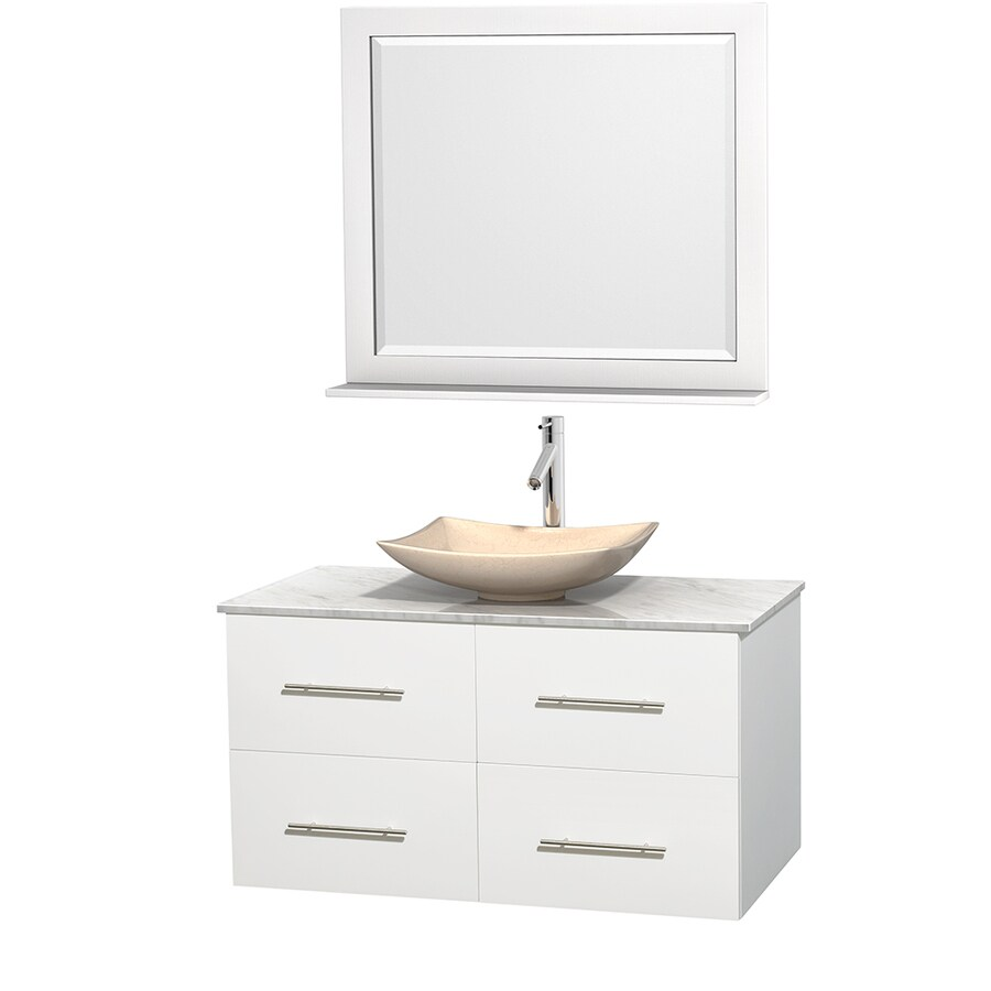 Wyndham Collection Centra White (Common: 42-in x 21.5-in) Vessel Single Sink Oak Bathroom Vanity with Natural Marble Top (Mirror Included) (Actual: 42-in x 21.5-in)