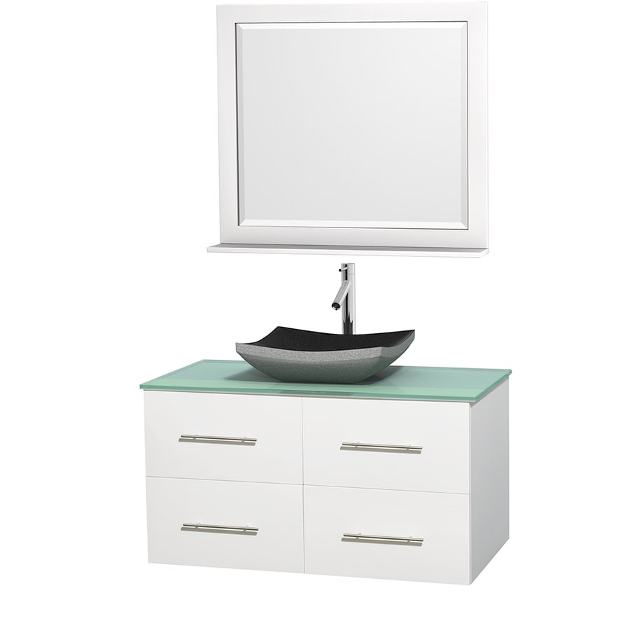 Wyndham Collection Centra White 42-in Vessel Single Sink Oak Bathroom Vanity with Tempered Glass and Glass Top (Mirror Included)