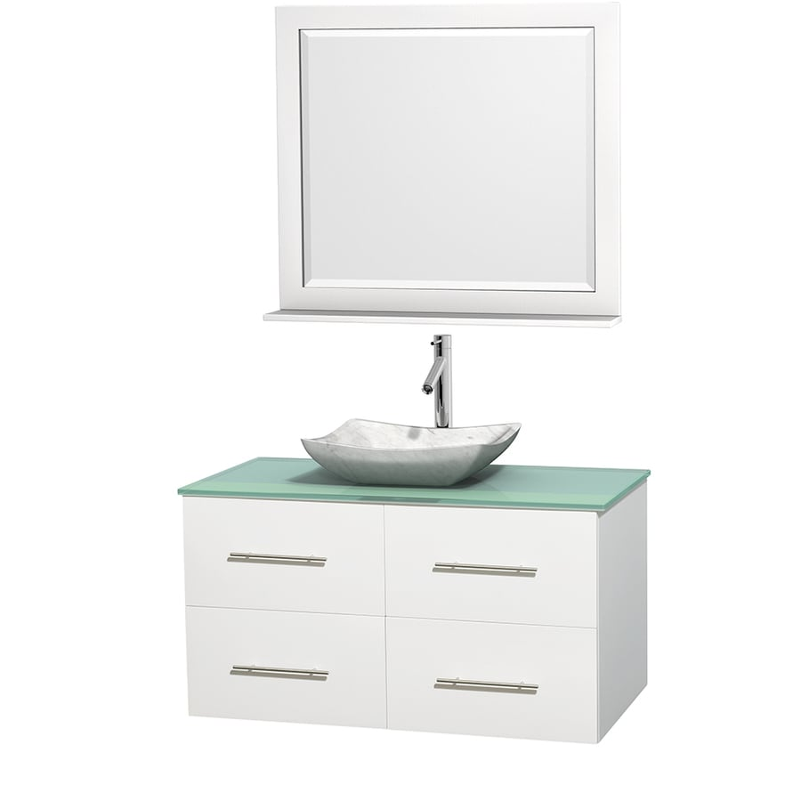 Wyndham Collection Centra White (Common: 42-in x 21.5-in) Vessel Single Sink Oak Bathroom Vanity with Tempered Glass and Glass Top (Mirror Included) (Actual: 42-in x 21.5-in)
