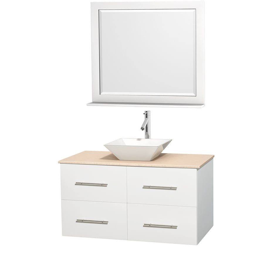 Wyndham Collection Centra White 42-in Vessel Single Sink Oak Bathroom Vanity with Natural Marble Top (Mirror Included)