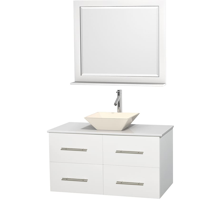 Wyndham Collection Centra White Single Vessel Sink Bathroom Vanity with Engineered Stone Top (Common: 42-in x 21.5-in; Actual: 42-in x 21.5-in)