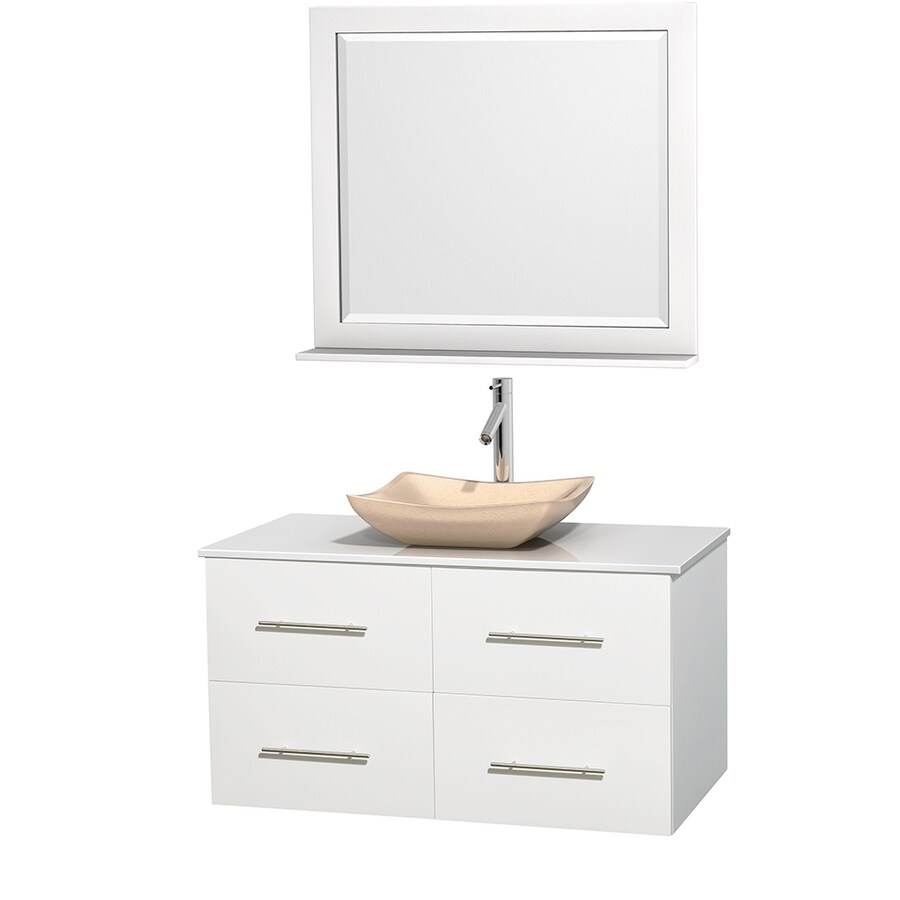 Wyndham Collection Centra White 42-in Vessel Single Sink Oak Bathroom Vanity with Engineered Stone Top (Mirror Included)