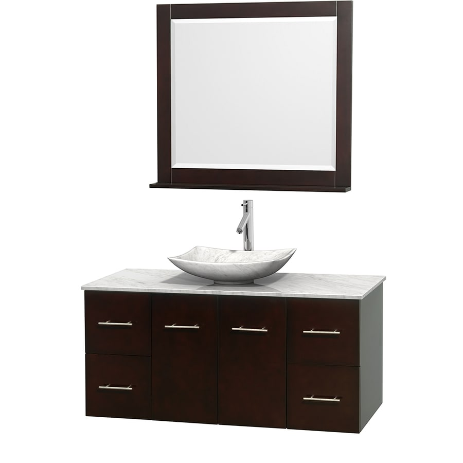 Wyndham Collection Centra Espresso (Common: 48-in x 21.5-in) Vessel Single Sink Oak Bathroom Vanity with Natural Marble Top (Mirror Included) (Actual: 48-in x 21.5-in)