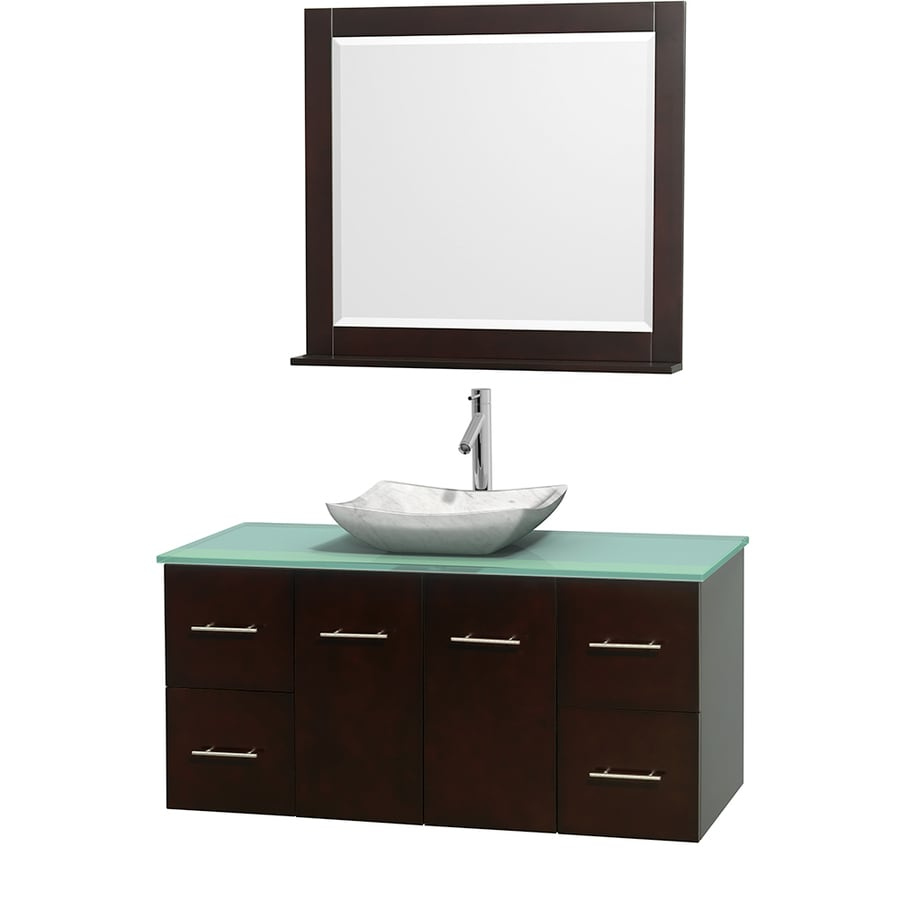 Wyndham Collection Centra Espresso 48-in Vessel Single Sink Oak Bathroom Vanity with Tempered Glass and Glass Top (Mirror Included)