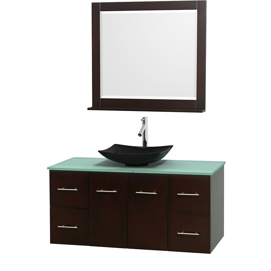 Wyndham Collection Centra Espresso Single Vessel Sink Bathroom Vanity with Tempered Glass and Glass Top (Common: 48-in x 21.5-in; Actual: 48-in x 21.5-in)