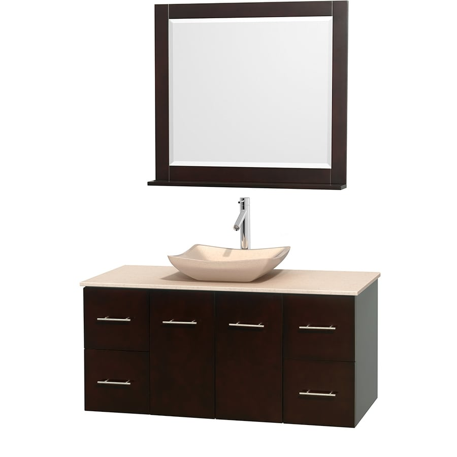 Wyndham Collection Centra Espresso 48-in Vessel Single Sink Oak Bathroom Vanity with Natural Marble Top (Mirror Included)
