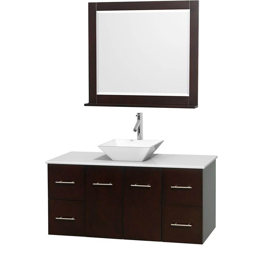 Wyndham Collection Centra Espresso (Common: 48-in x 21.5-in) Vessel Single Sink Oak Bathroom Vanity with Engineered Stone Top (Mirror Included) (Actual: 48-in x 21.5-in)