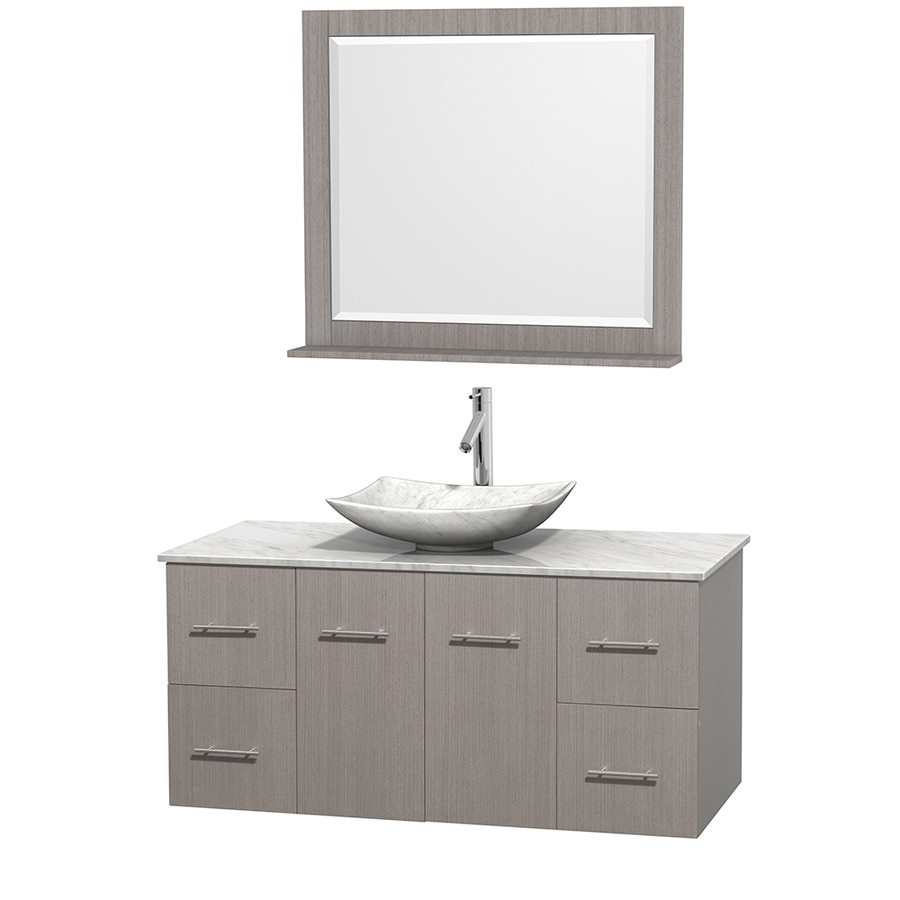 Wyndham Collection Centra Gray Oak (Common: 48-in x 21.5-in) Vessel Single Sink Oak Bathroom Vanity with Natural Marble Top (Mirror Included) (Actual: 48-in x 21.5-in)