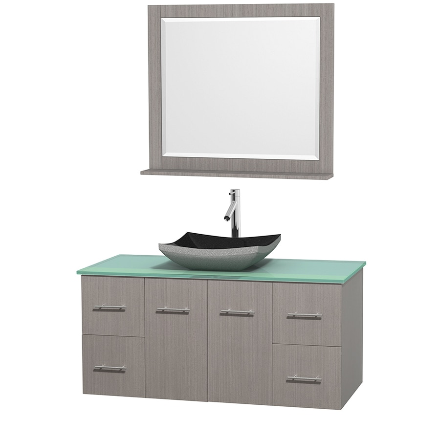 Wyndham Collection Centra Gray Oak 48-in Vessel Single Sink Oak Bathroom Vanity with Tempered Glass and Glass Top (Mirror Included)