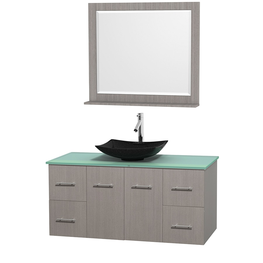 Wyndham Collection Centra Gray Oak (Common: 48-in x 21.5-in) Vessel Single Sink Oak Bathroom Vanity with Tempered Glass and Glass Top (Mirror Included) (Actual: 48-in x 21.5-in)
