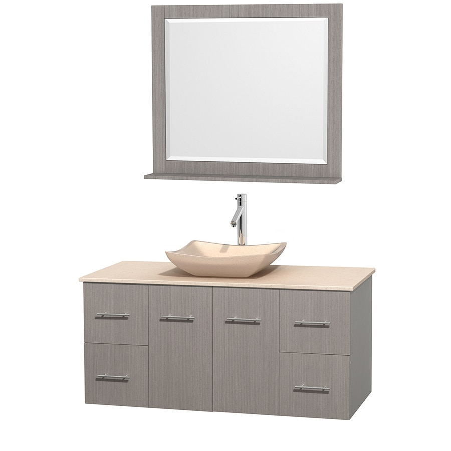 Wyndham Collection Centra Gray Oak 48-in Vessel Single Sink Oak Bathroom Vanity with Natural Marble Top (Mirror Included)