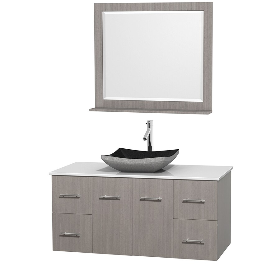 Wyndham Collection Centra Gray Oak (Common: 48-in x 21.5-in) Vessel Single Sink Oak Bathroom Vanity with Engineered Stone Top (Mirror Included) (Actual: 48-in x 21.5-in)