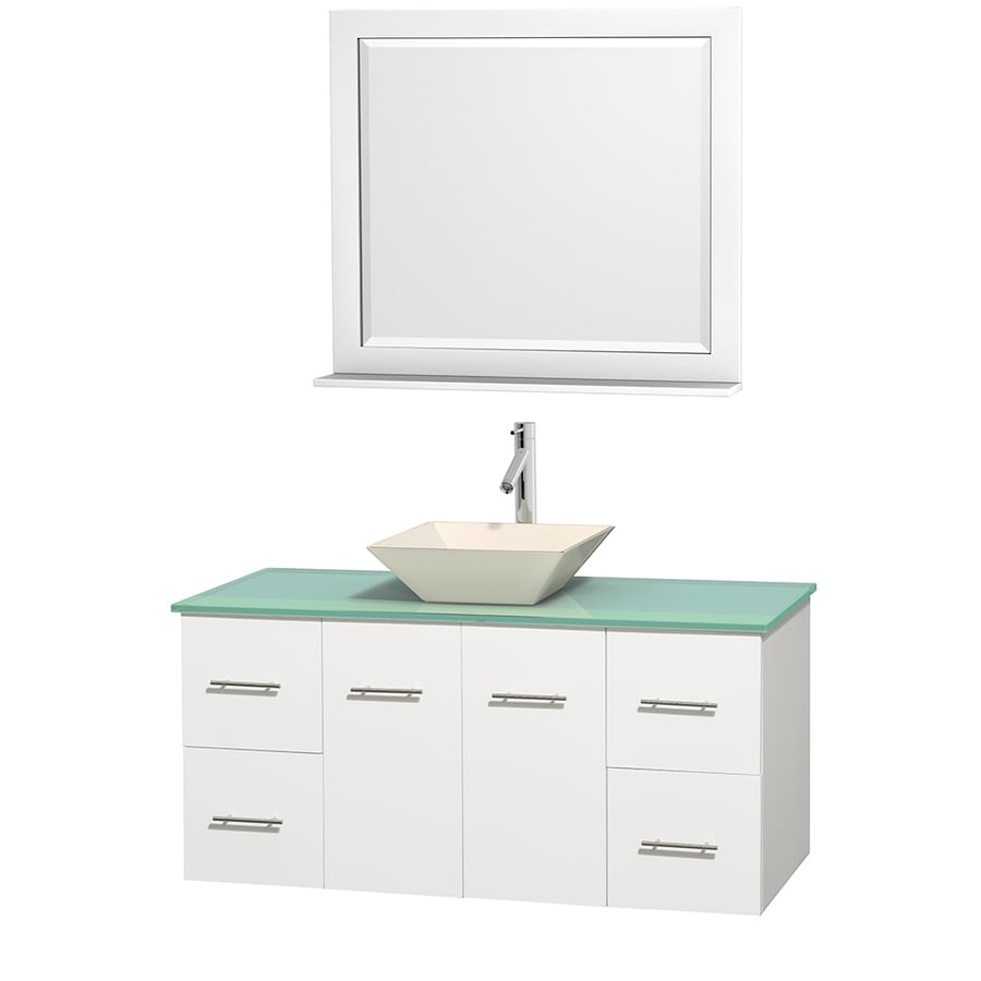 Wyndham Collection Centra White Single Vessel Sink Bathroom Vanity with Tempered Glass and Glass Top (Common: 48-in x 21.5-in; Actual: 48-in x 21.5-in)
