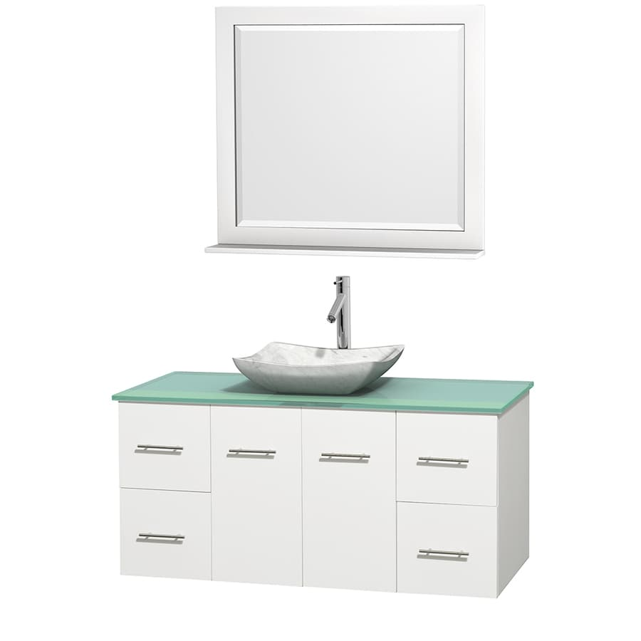 Wyndham Collection Centra White (Common: 48-in x 21.5-in) Vessel Single Sink Oak Bathroom Vanity with Tempered Glass and Glass Top (Mirror Included) (Actual: 48-in x 21.5-in)