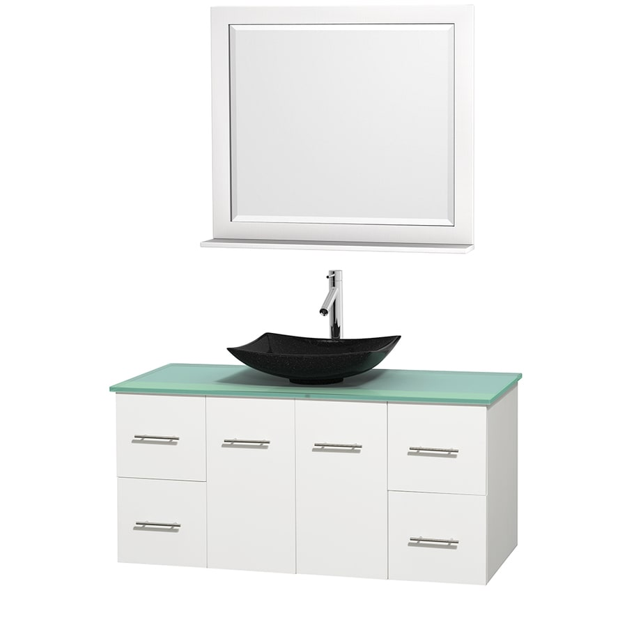 Wyndham Collection Centra White 48-in Vessel Single Sink Oak Bathroom Vanity with Tempered Glass and Glass Top (Mirror Included)
