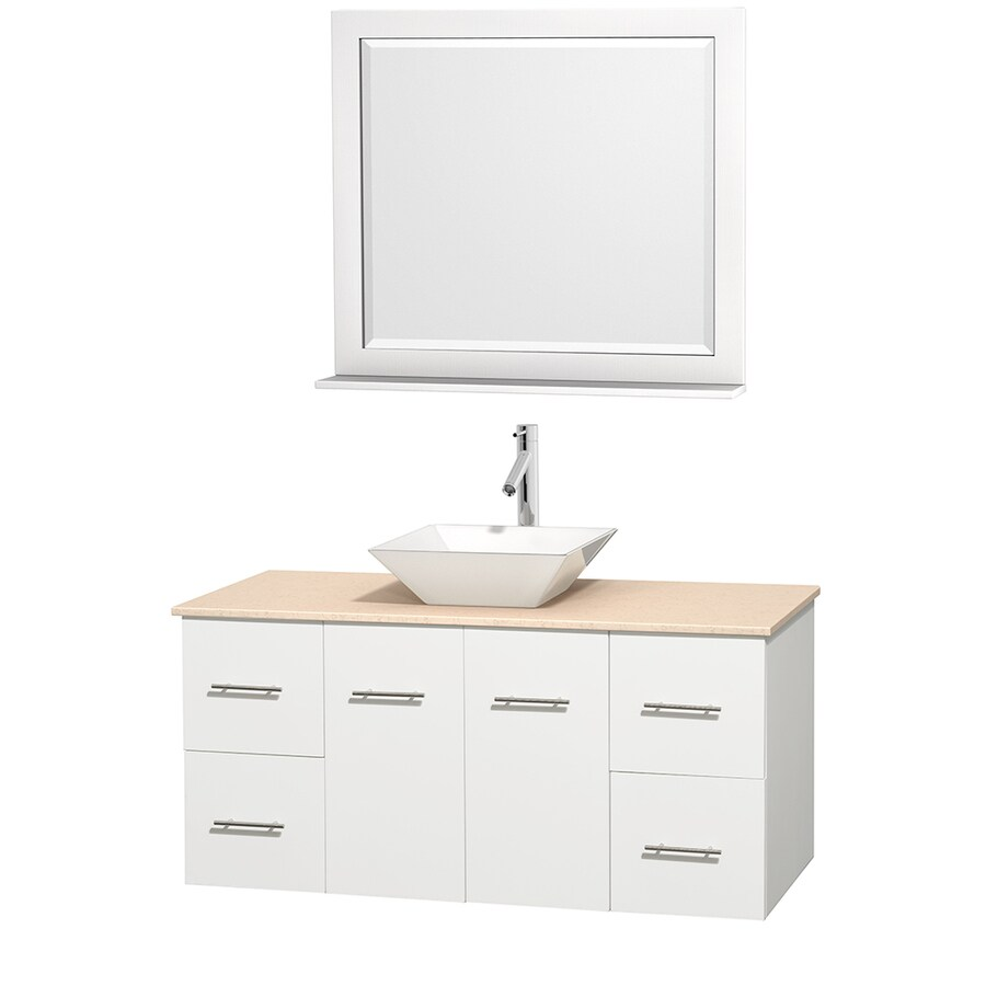 Wyndham Collection Centra White 48-in Vessel Single Sink Oak Bathroom Vanity with Natural Marble Top (Mirror Included)