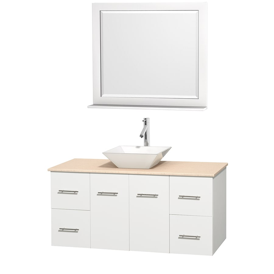 Wyndham Collection Centra White Single Vessel Sink Bathroom Vanity with Natural Marble Top (Common: 48-in x 21.5-in; Actual: 48-in x 21.5-in)