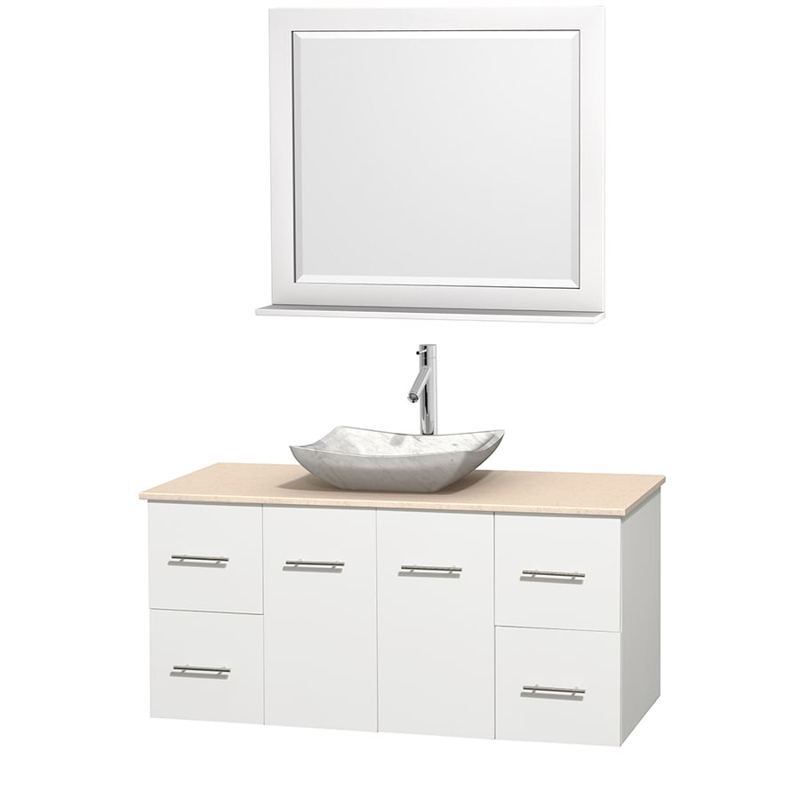 Wyndham Collection Centra White (Common: 48-in x 21.5-in) Vessel Single Sink Oak Bathroom Vanity with Natural Marble Top (Mirror Included) (Actual: 48-in x 21.5-in)