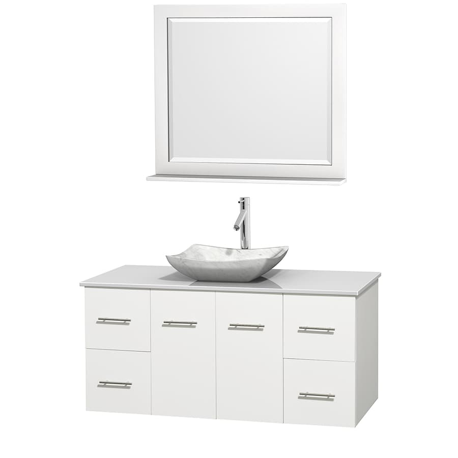 Wyndham Collection Centra White 48-in Vessel Single Sink Oak Bathroom Vanity with Engineered Stone Top (Mirror Included)