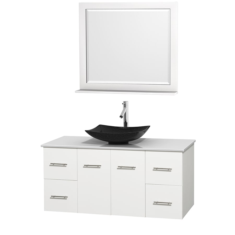 Wyndham Collection Centra White (Common: 48-in x 21.5-in) Vessel Single Sink Oak Bathroom Vanity with Engineered Stone Top (Mirror Included) (Actual: 48-in x 21.5-in)
