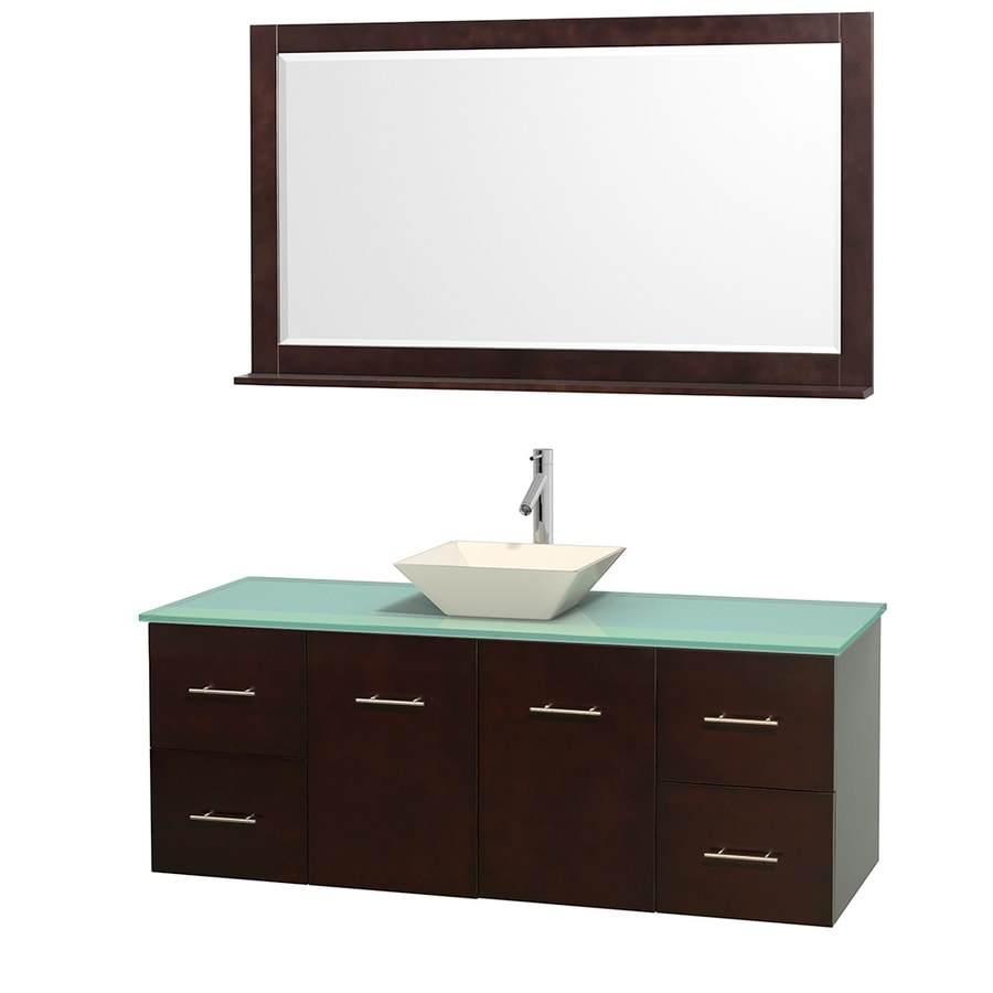 Wyndham Collection Centra Espresso 60-in Vessel Single Sink Oak Bathroom Vanity with Tempered Glass and Glass Top (Mirror Included)