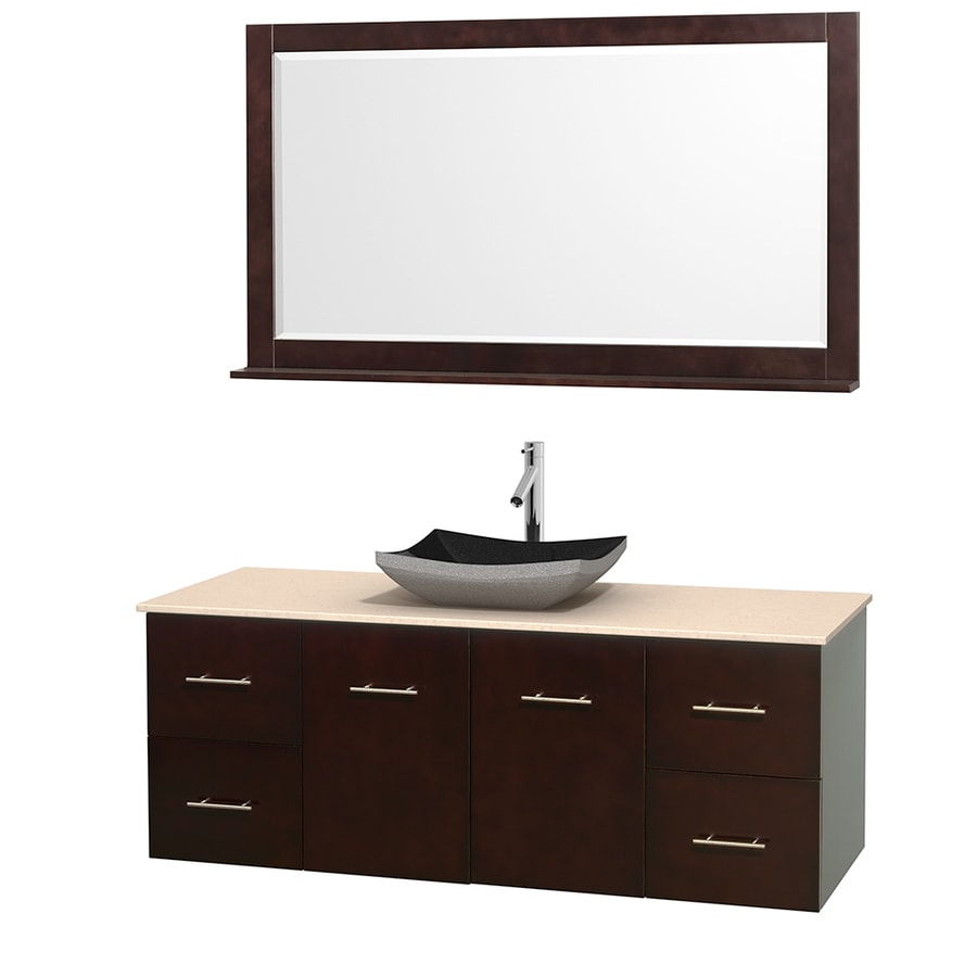 Wyndham Collection Centra Espresso (Common: 60-in x 22.5-in) Vessel Single Sink Oak Bathroom Vanity with Natural Marble Top (Mirror Included) (Actual: 60-in x 22.25-in)