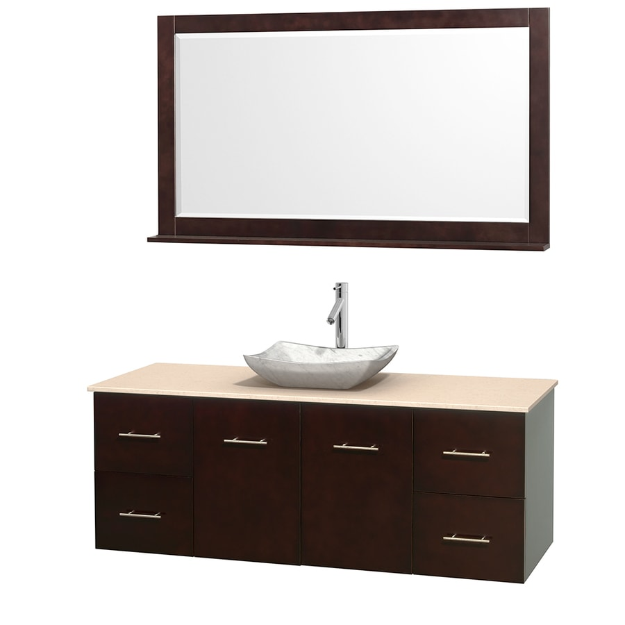 Wyndham Collection Centra Espresso Single Vessel Sink Bathroom Vanity with Natural Marble Top (Common: 60-in x 22.5-in; Actual: 60-in x 22.25-in)